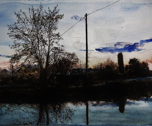 Artist G O'Reilly.Late evening on the Royal Canal